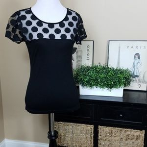 Banana Republic black top sheer bodice